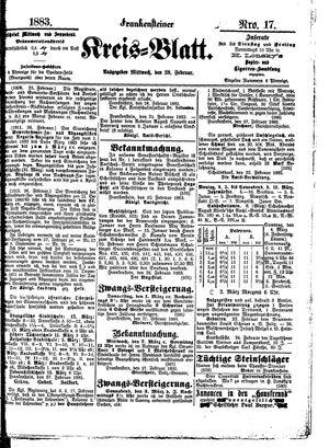 Frankensteiner Kreisblatt vom 28.02.1883