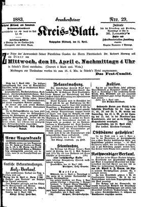Frankensteiner Kreisblatt vom 11.04.1883