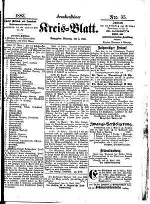 Frankensteiner Kreisblatt on May 2, 1883