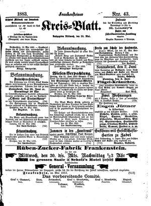Frankensteiner Kreisblatt vom 30.05.1883