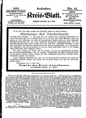 Frankensteiner Kreisblatt vom 02.06.1883