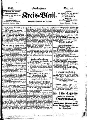 Frankensteiner Kreisblatt vom 16.06.1883