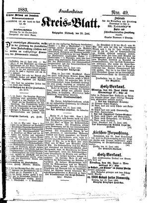 Frankensteiner Kreisblatt vom 20.06.1883