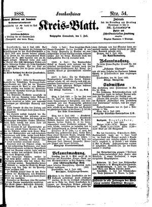 Frankensteiner Kreisblatt vom 07.07.1883