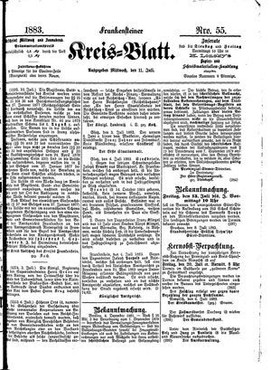 Frankensteiner Kreisblatt vom 11.07.1883