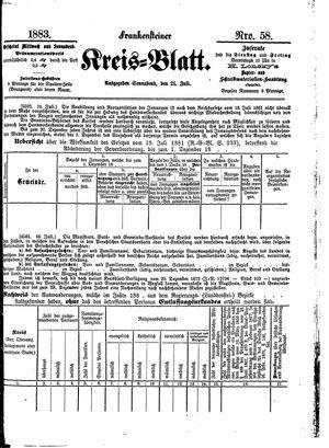 Frankensteiner Kreisblatt vom 21.07.1883