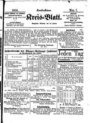 Frankensteiner Kreisblatt vom 23.01.1884