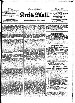 Frankensteiner Kreisblatt vom 02.02.1884