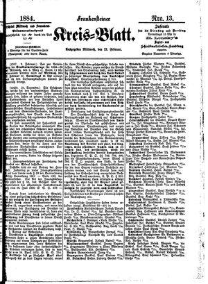 Frankensteiner Kreisblatt vom 13.02.1884