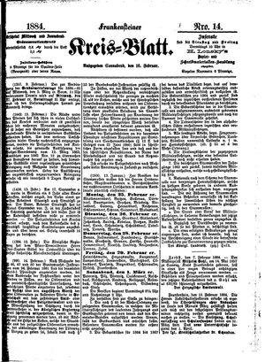 Frankensteiner Kreisblatt vom 16.02.1884
