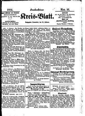 Frankensteiner Kreisblatt vom 23.02.1884