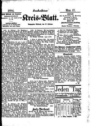 Frankensteiner Kreisblatt vom 27.02.1884
