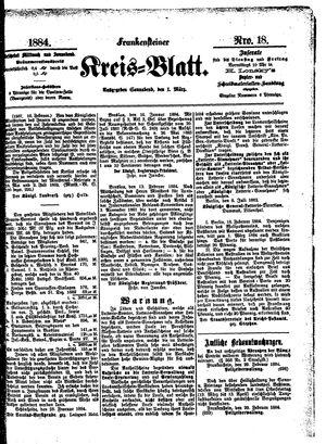 Frankensteiner Kreisblatt vom 01.03.1884
