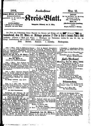 Frankensteiner Kreisblatt vom 12.03.1884