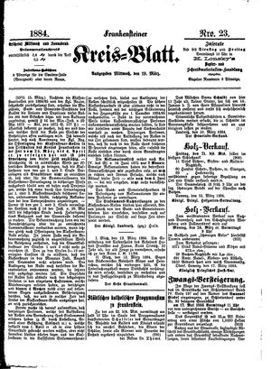 Frankensteiner Kreisblatt vom 19.03.1884