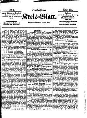 Frankensteiner Kreisblatt on Mar 26, 1884