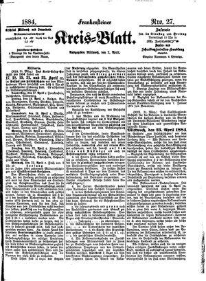 Frankensteiner Kreisblatt vom 02.04.1884
