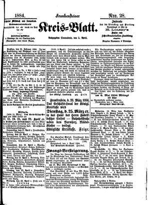 Frankensteiner Kreisblatt on Apr 5, 1884