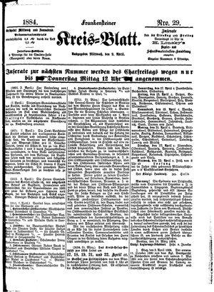 Frankensteiner Kreisblatt vom 09.04.1884