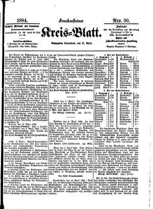 Frankensteiner Kreisblatt vom 12.04.1884