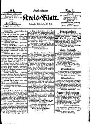 Frankensteiner Kreisblatt on Apr 16, 1884