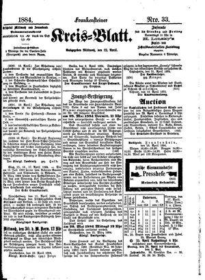 Frankensteiner Kreisblatt vom 23.04.1884