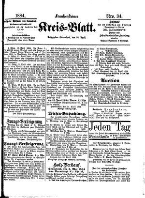 Frankensteiner Kreisblatt vom 26.04.1884