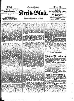 Frankensteiner Kreisblatt vom 30.04.1884