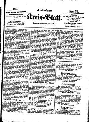 Frankensteiner Kreisblatt vom 03.05.1884