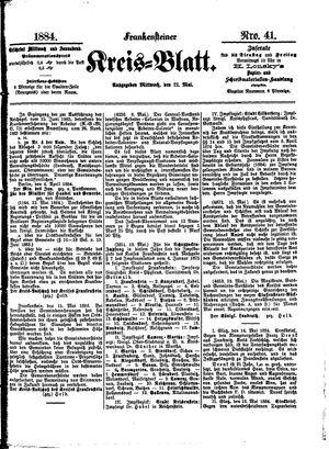 Frankensteiner Kreisblatt vom 21.05.1884