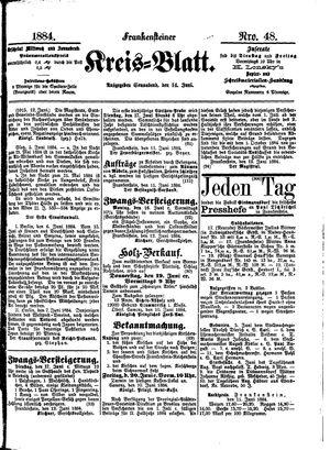 Frankensteiner Kreisblatt vom 14.06.1884