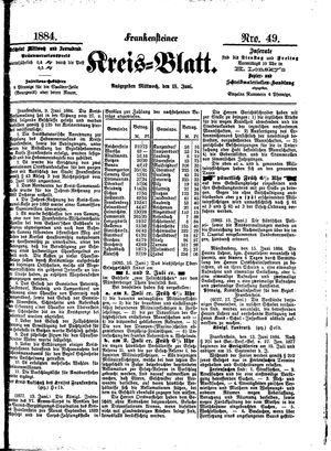Frankensteiner Kreisblatt vom 18.06.1884