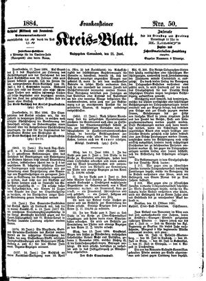 Frankensteiner Kreisblatt vom 21.06.1884