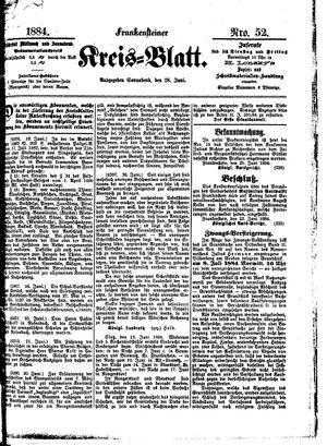 Frankensteiner Kreisblatt vom 28.06.1884