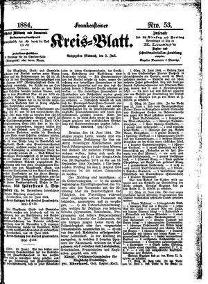 Frankensteiner Kreisblatt on Jul 2, 1884