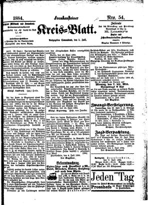 Frankensteiner Kreisblatt on Jul 5, 1884