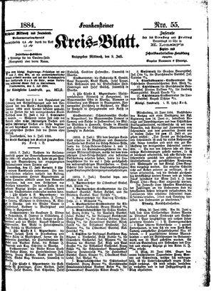 Frankensteiner Kreisblatt vom 09.07.1884