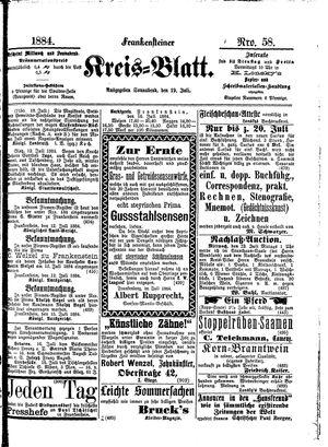 Frankensteiner Kreisblatt vom 19.07.1884