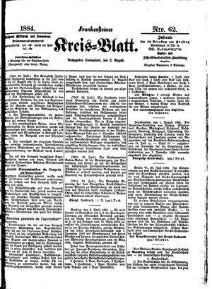 Frankensteiner Kreisblatt vom 02.08.1884