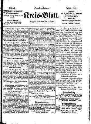 Frankensteiner Kreisblatt vom 09.08.1884