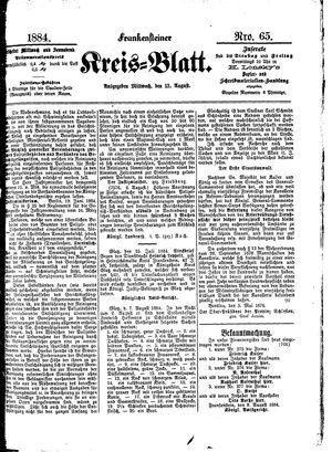 Frankensteiner Kreisblatt vom 13.08.1884