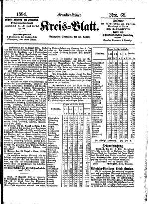 Frankensteiner Kreisblatt on Aug 23, 1884
