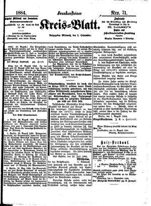 Frankensteiner Kreisblatt vom 03.09.1884