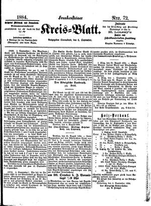 Frankensteiner Kreisblatt vom 06.09.1884