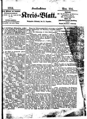 Frankensteiner Kreisblatt vom 31.12.1884