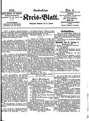 Frankensteiner Kreisblatt vom 14.01.1885