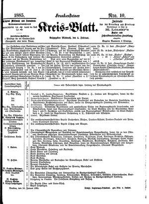 Frankensteiner Kreisblatt vom 04.02.1885