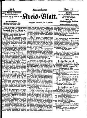 Frankensteiner Kreisblatt vom 07.02.1885
