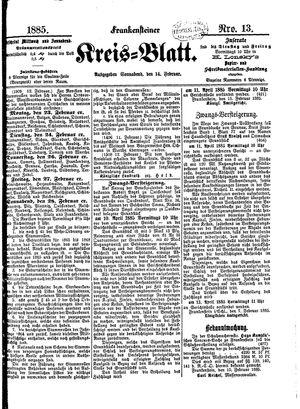 Frankensteiner Kreisblatt vom 14.02.1885