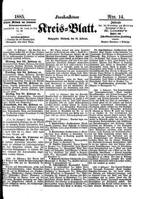 Frankensteiner Kreisblatt vom 18.02.1885